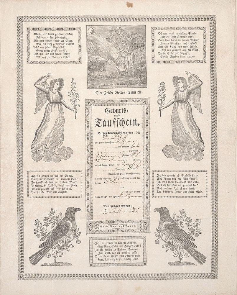 Birth and Baptismal Certificate (Geburts und Taufschein) for William Schall