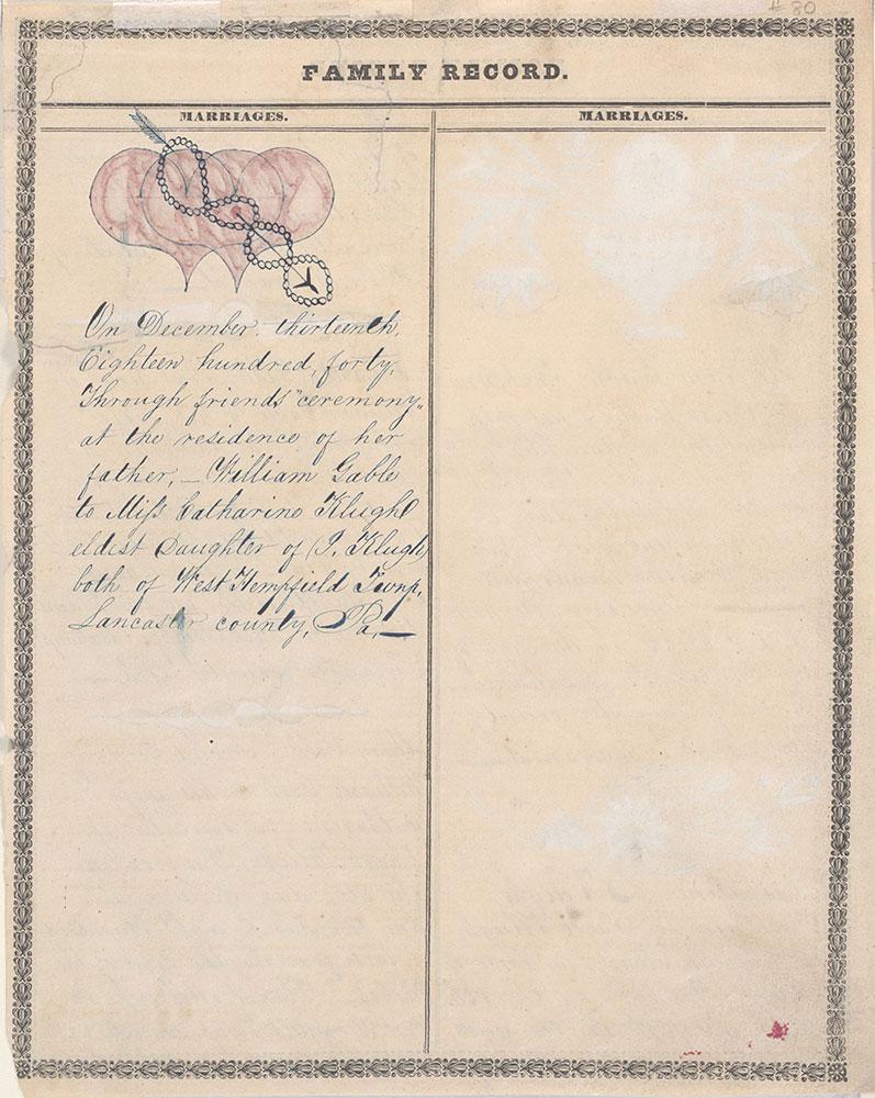 Family Record (Familien Register) for William Gable and Catharine Klugh