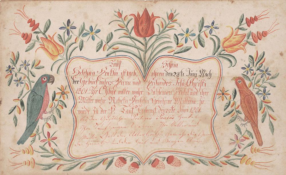Birth and Baptismal Certificate (Geburts und Taufschein) for Helehna Henkel