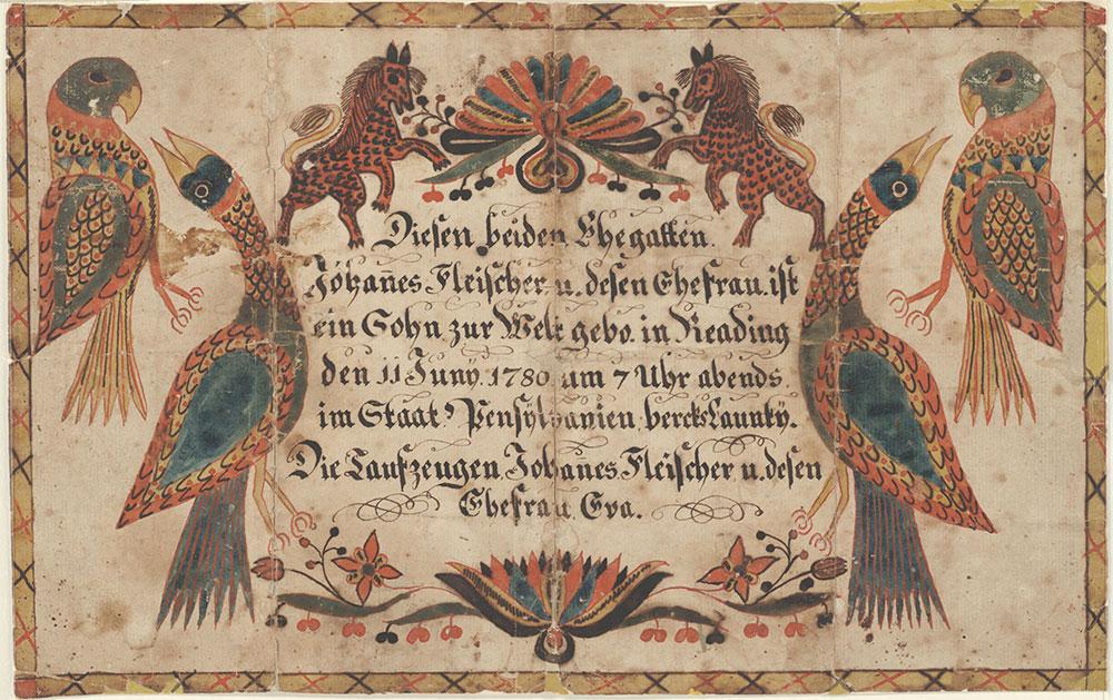 Birth and Baptismal Certificate (Geburts und Taufschein) for a son of Johannes Fleischer