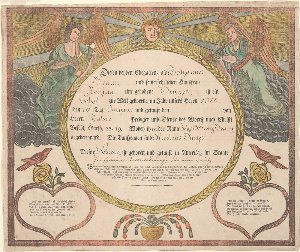 Birth and Baptismal Certificate (Geburts und Taufschein) for Johann Georg Braun