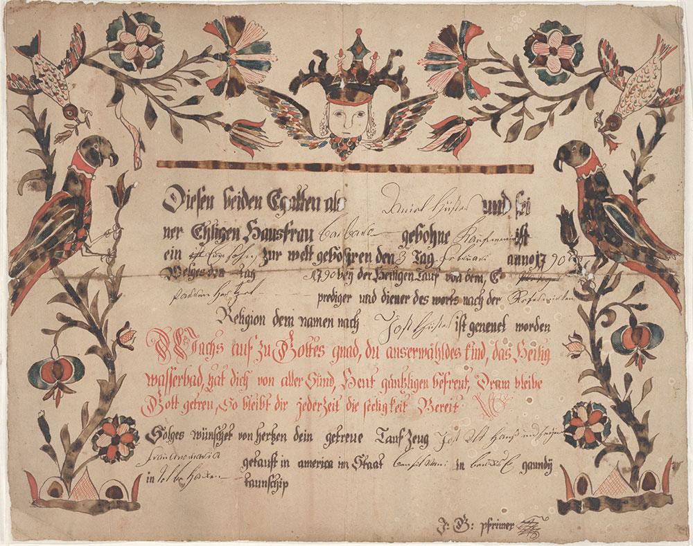 Birth and Baptismal Certificate (Geburts und Taufschein) for Jost Hüster