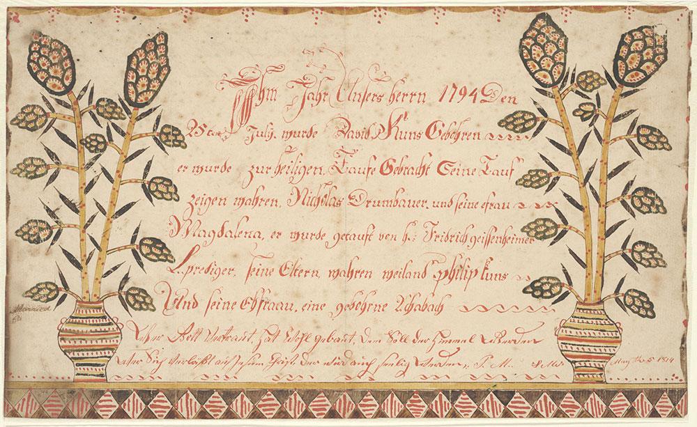 Birth and Baptismal Certificate (Geburts und Taufschein) for David Kuns