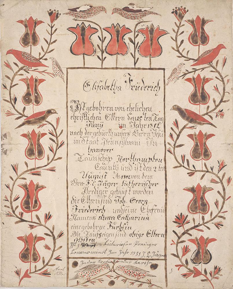 Birth and Baptismal Certificate (Geburts und Taufschein) for Elisabetha Friederich