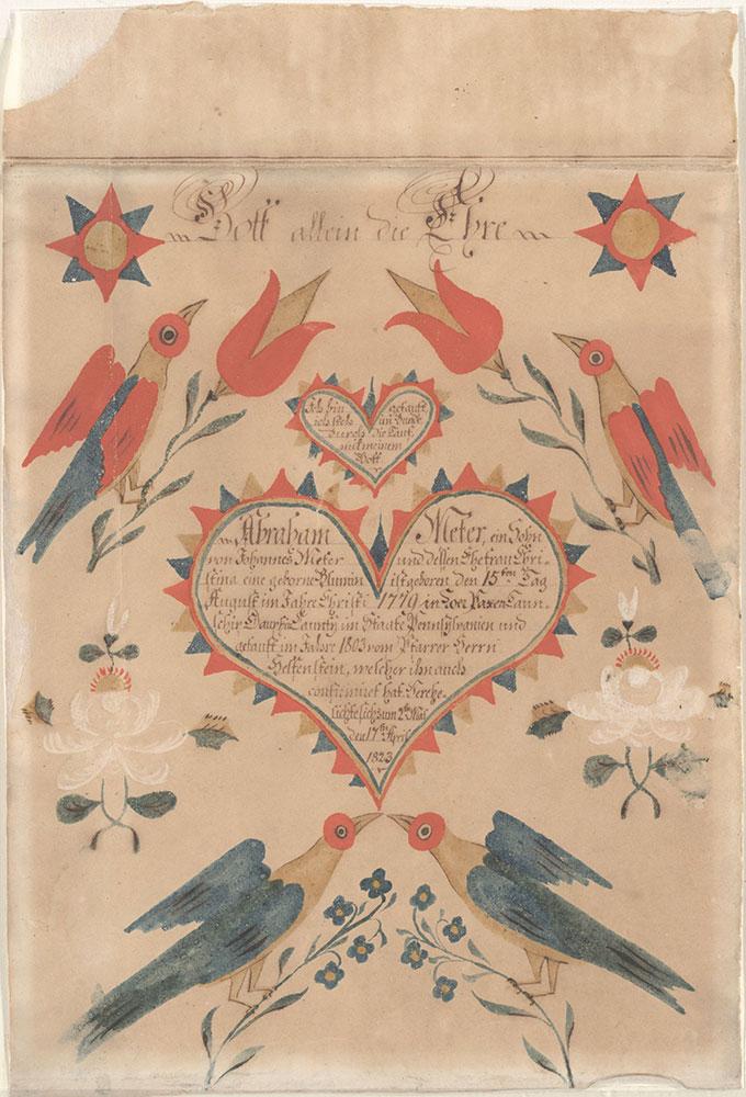 Birth and Baptismal Certificate (Geburts und Taufschein) for Abraham Meter