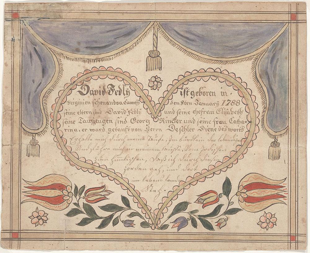 Birth and Baptismal Certificate (Geburts und Taufschein) for David Fedly