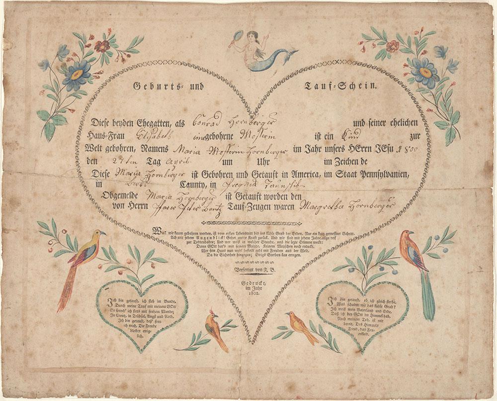 Birth and Baptismal Certificate (Geburts und Taufschein) for Maria Hornberger