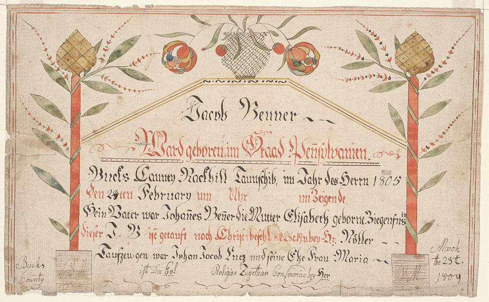 Birth and Baptismal Certificate (Geburts und Taufschein) for Jacob Benner