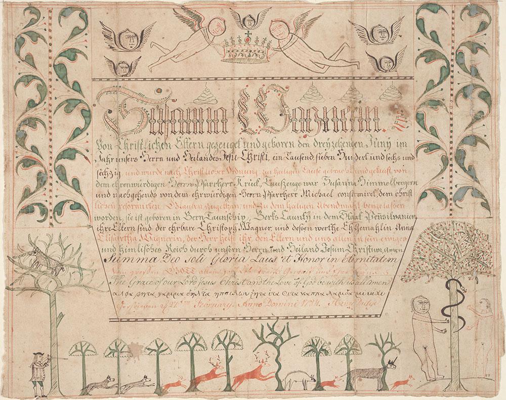 Birth, Baptismal and Confirmation Certificate (Geburts, Tauf, und Konfirmationsschein) for Susanna Wagner