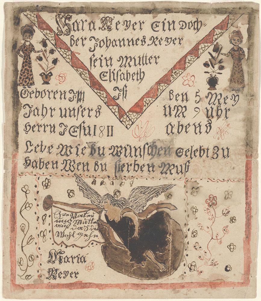 Birth Certificate (Geburtsschein) for Sara Reyer