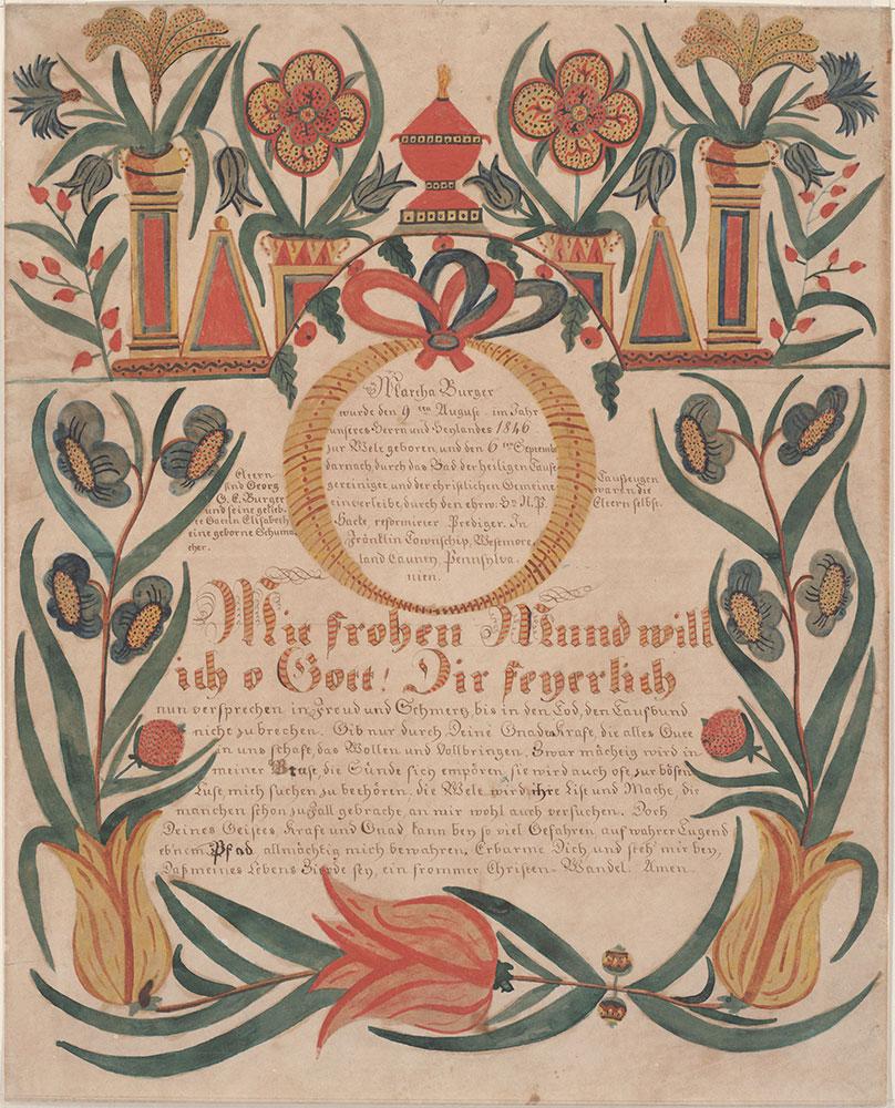 Birth and Baptismal Certificate (Geburts und Taufschein) for Martha Burger