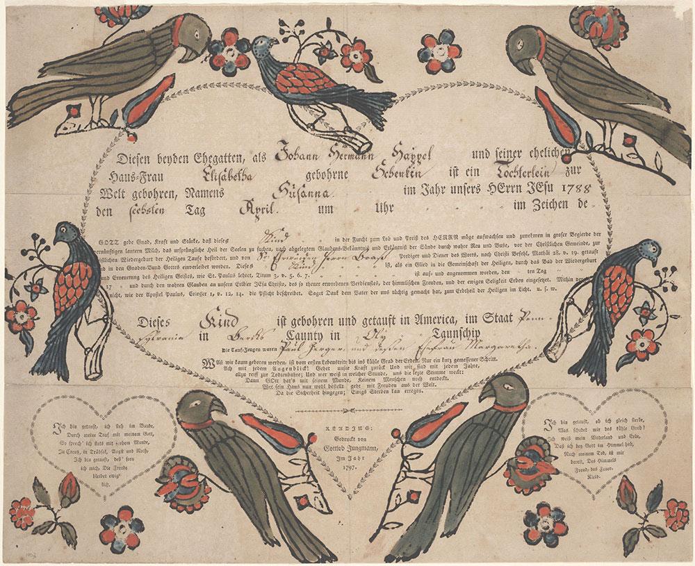 Birth and Baptismal Certificate (Geburts und Taufschein) for Susanna Happel
