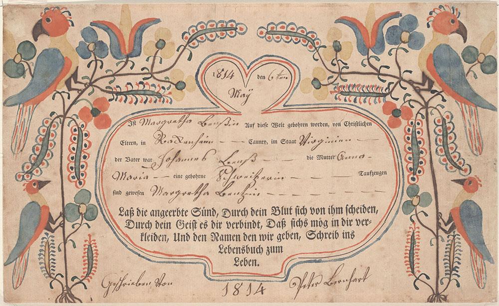 Birth and Baptismal Certificate (Geburts und Taufschein) for Margretha Benns