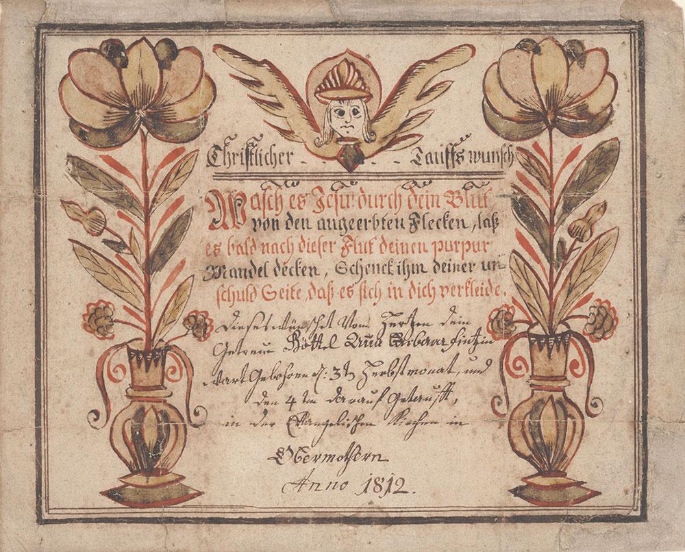 Baptismal Wish (Taufwunsch) from Anna Barbara Seitz