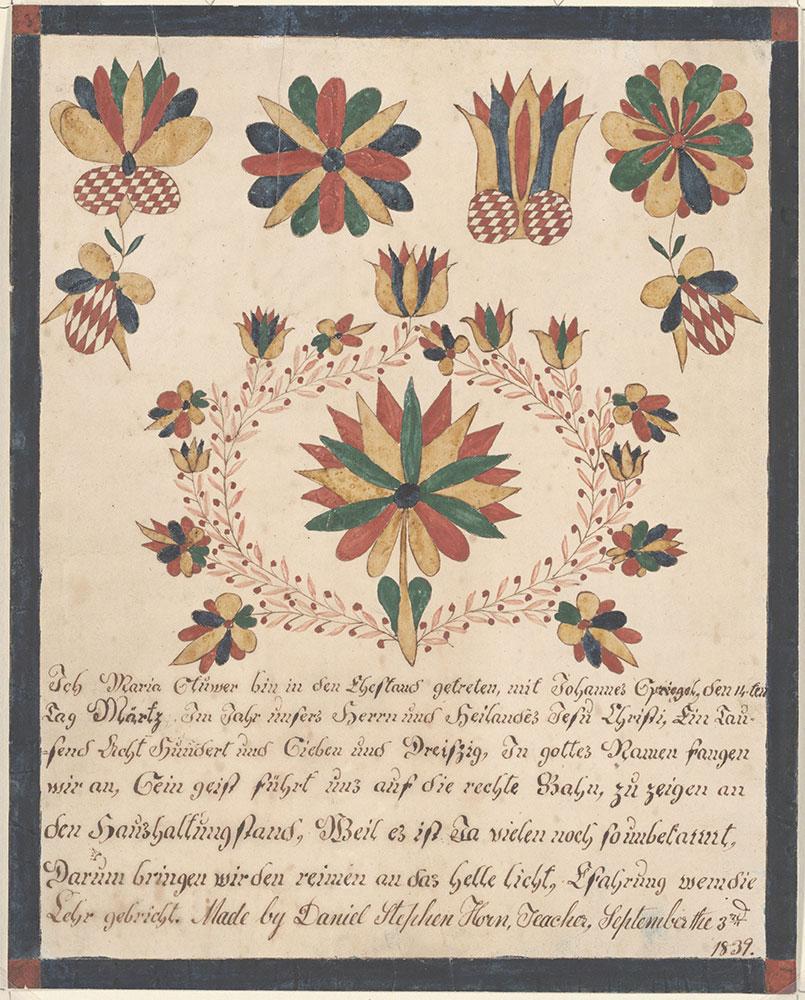 Marriage Certificate (Trauschein) for Maria Stüwer and Johannes Spriegel