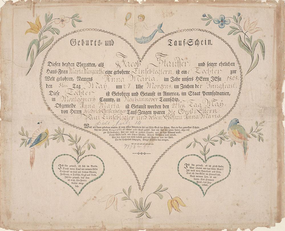 Birth and Baptismal Certificate (Geburts und Taufschein) for Anna Maria Stauffer