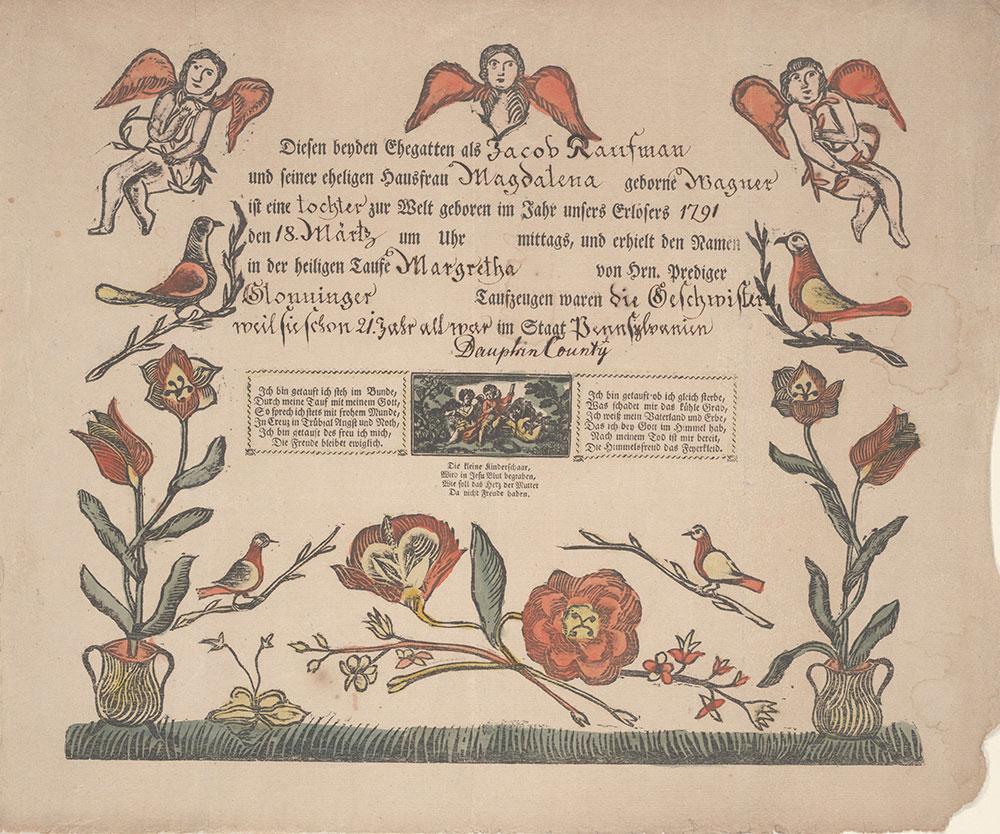 Birth and Baptismal Certificate (Geburts und Taufschein) for Margretha Kaufman
