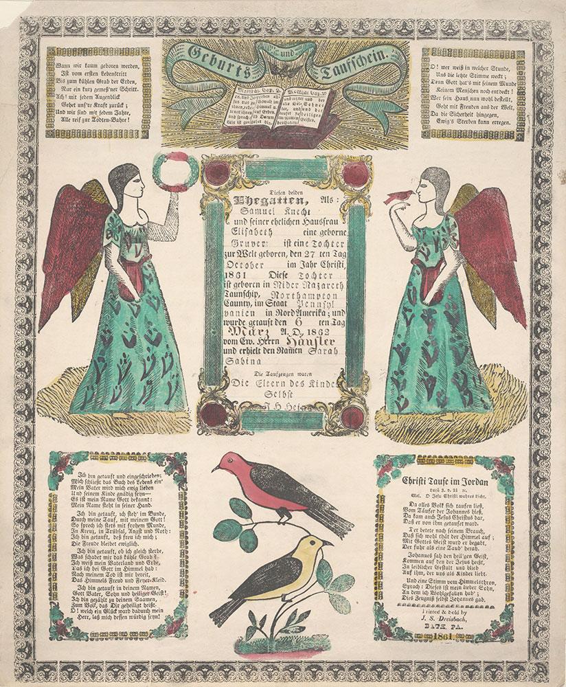Birth and Baptismal Certificate (Geburts und Taufschein) for Sarah Sabine Knecht