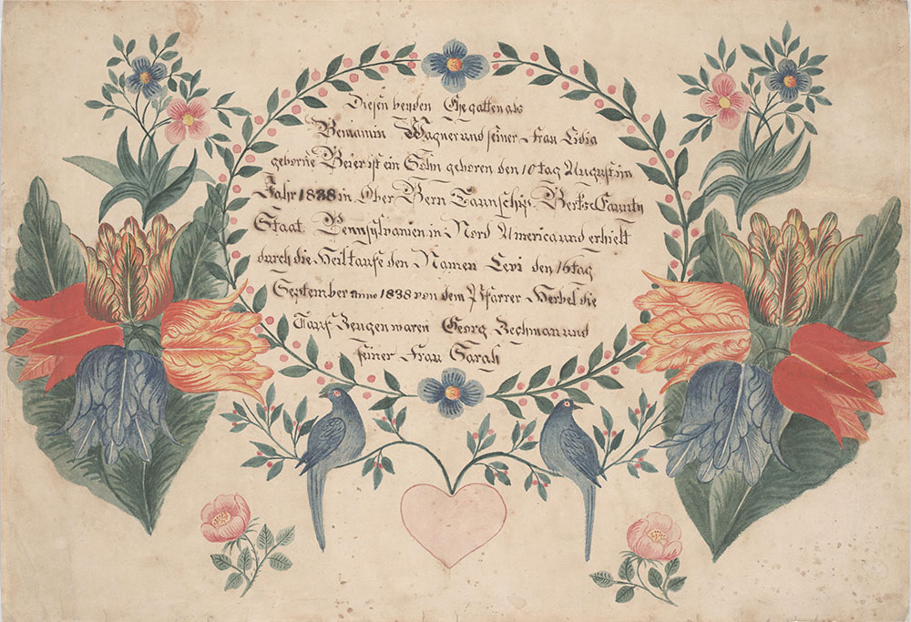 Birth and Baptismal Certificate (Geburts und Taufschein) for Levi Wagner