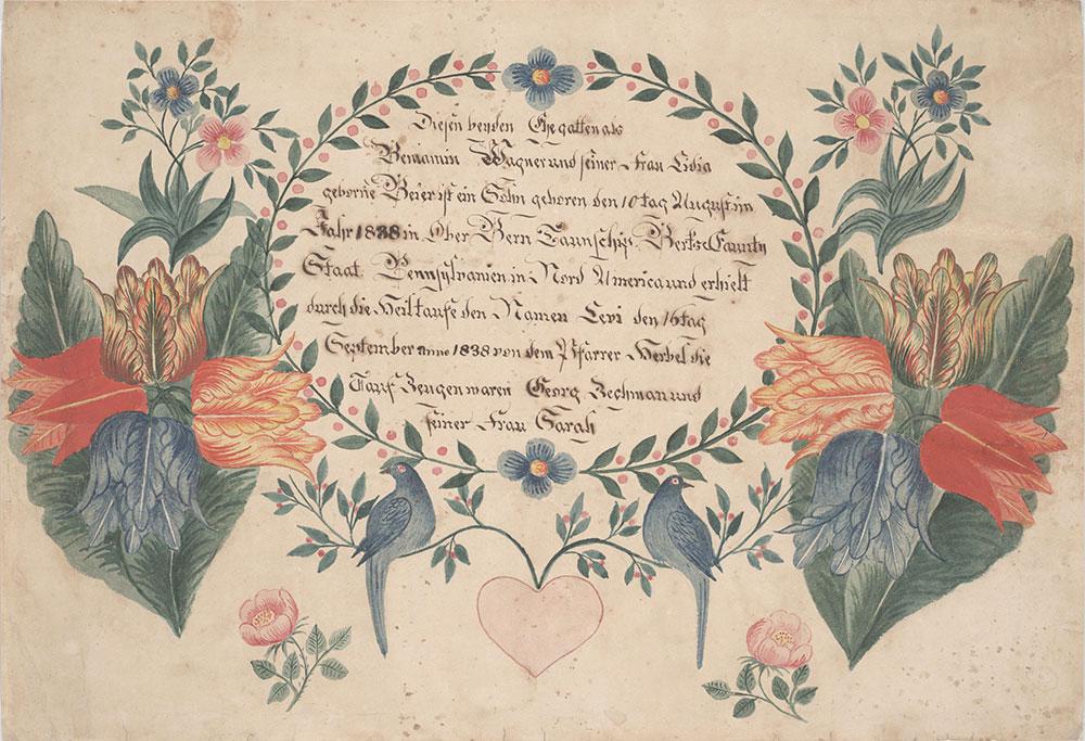 Birth and Baptismal Certificate (Geburts und Taufschein) for Levi Wagner
