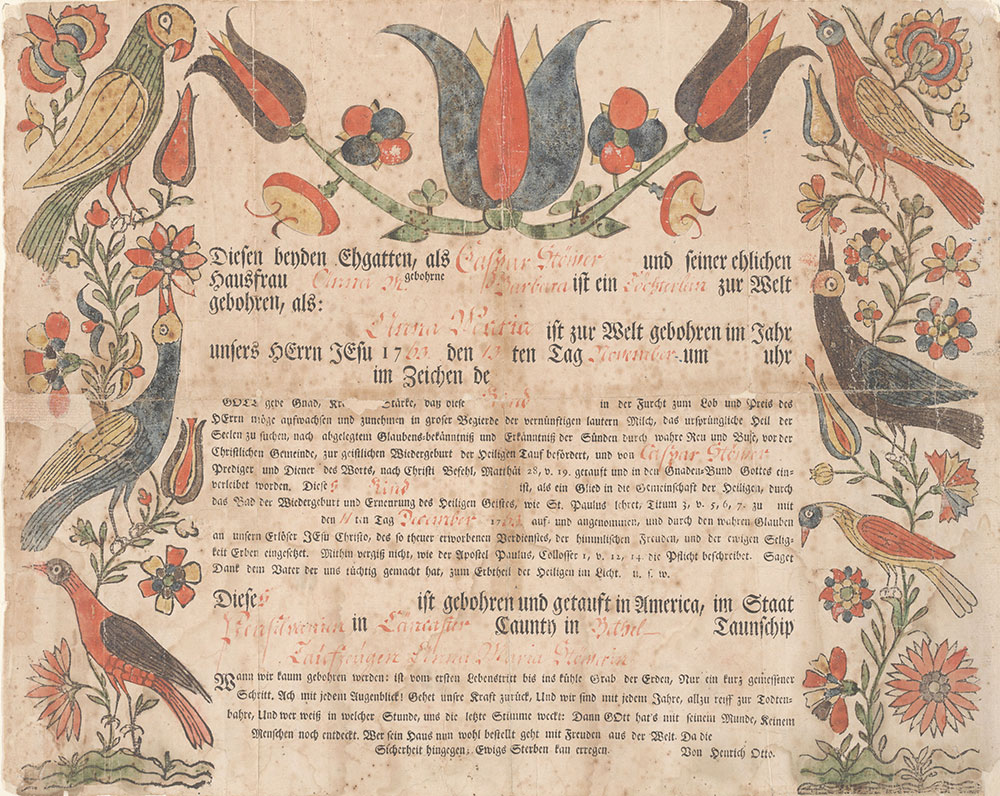 Birth and Baptismal Certificate (Geburts und Taufschein) for Anna Maria Stöver
