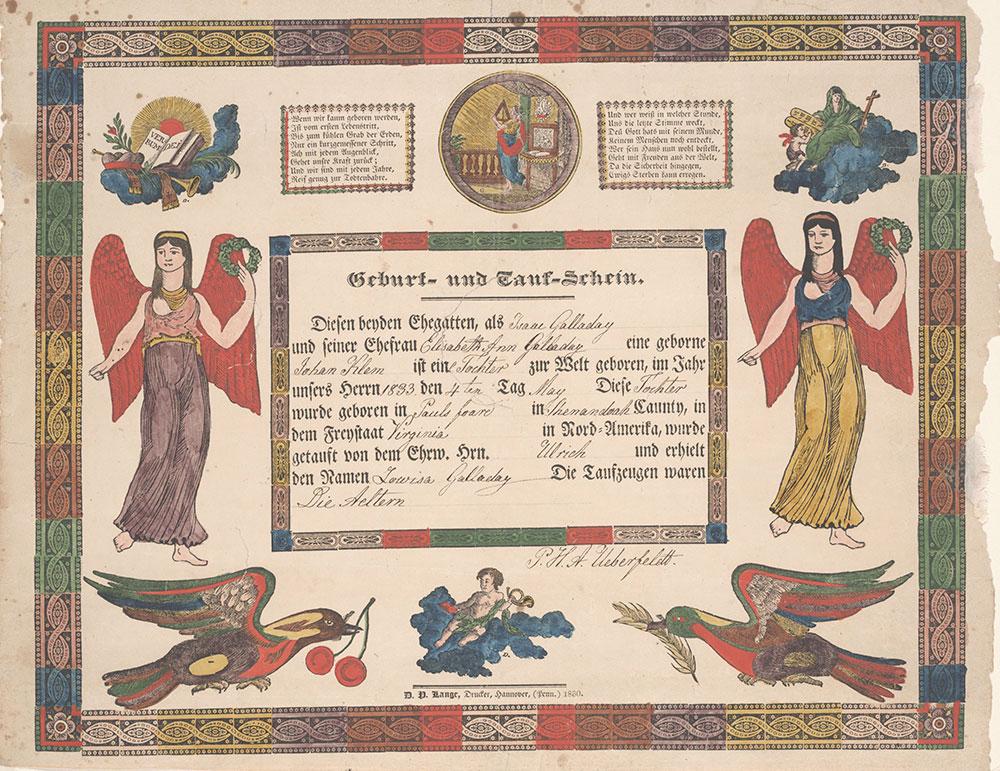 Birth and Baptismal Certificate (Geburts und Taufschein) for Lowisa Galladay