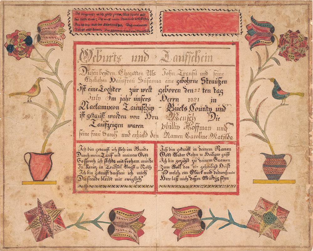 Birth and Baptismal Certificate for Caroline Matilda Transu (b. 1821).