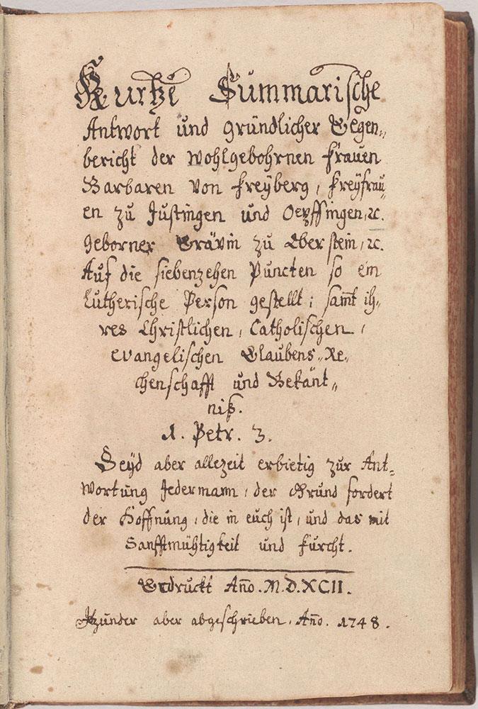Kurtze summarische Antwort und gründlicher Gegenberichte der Wohlgebohrnen Frauen Barbaren von Freyberg