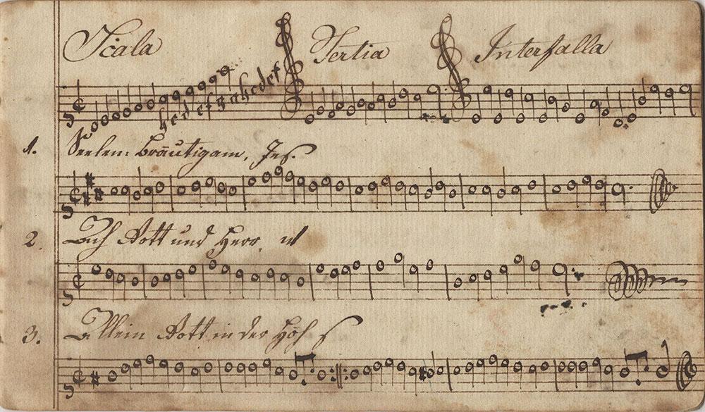Dieses Noten Buch gehört Eleonora Ruthin fleisserger Sing=Schüler in der Vincenter Schule in Chester County Geschrieben d. 12ten März Im Jahr des Herrn 1800