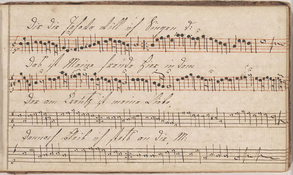 Dieses Harmonische Melodeyen büchlein gehöret Anna Landesin Geschrieben den 5ten Maÿ im Jahr 1807