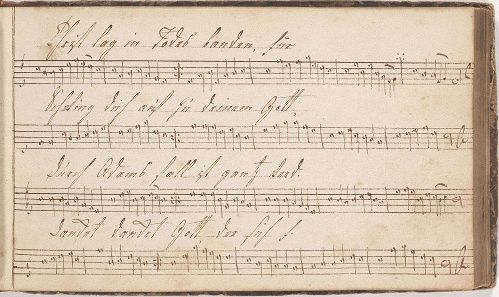 Dieses Harmonische Melodeyen büchlein gehöret Anna Lädermännin Sing schuler in der Tieffronner Schule geschrieben den 12ten Januarius Anno 1812