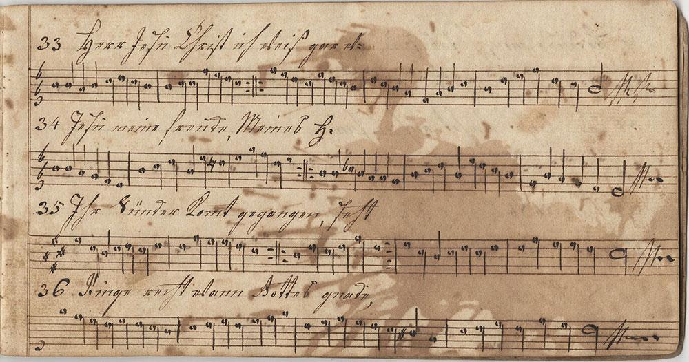 Dieses Harmonische Melodeyen büchlein gehöret Anna Oberholtzerin Sing schuler in der Tieffronner Schule geschrieben den 5ten November im Jahr unsers Hernn Jesu Christe 1814