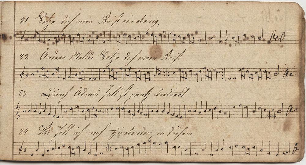 Dieses Harmonische Melodeyen büchlein Gehöret Elisabeth Oberholtzerin Sing schuler in der Tieffronner Schule geschrieben d 5ten November im Jahr unsers herrn Jesu Christi 1814