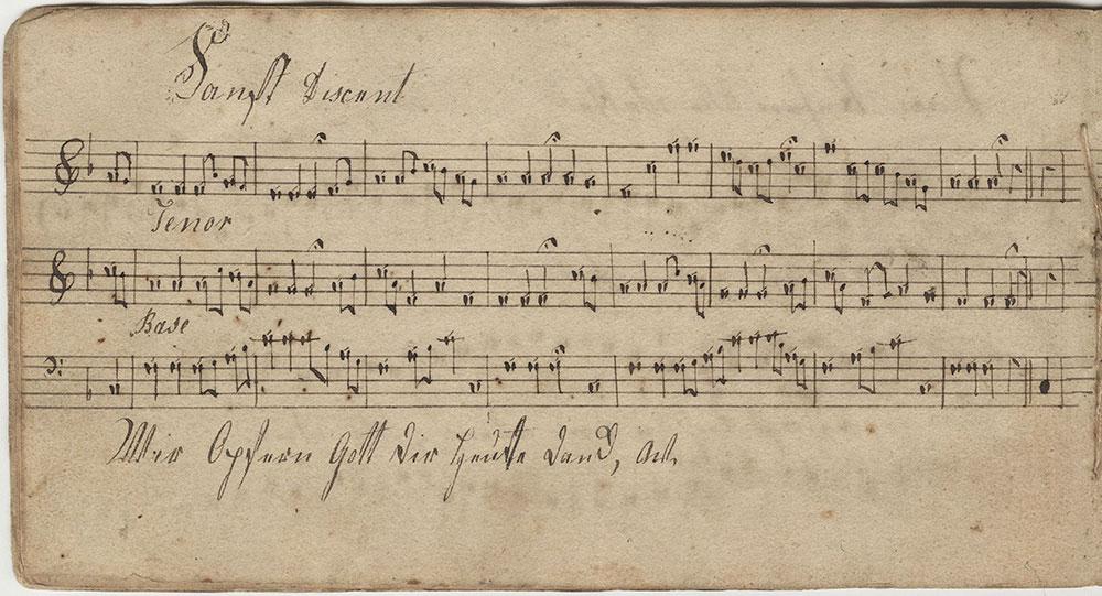 Dieses Notnbüchlein Ghöret Mir Sara Nunemacher Sing Schüler in der Roc hiler Schule Gloria ser Dir gesungen mit menschen und mit Engelzungen Abrill d 7ten ano 1815