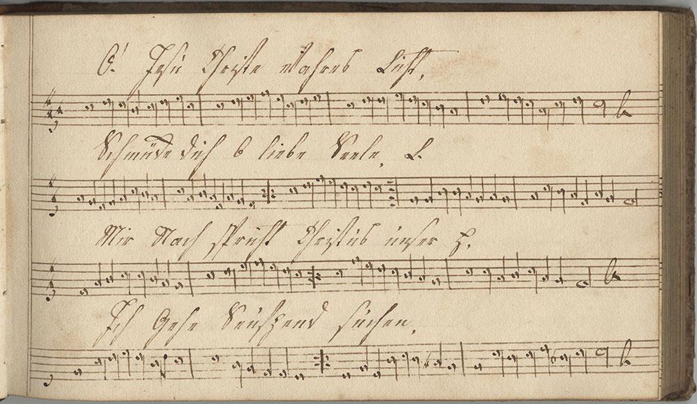 Dieses Hermonisches melodeyen Büchlein gehöret Catharina Lädermann Sing schuler in der Tieffroner schule Geschrieben den 1sten Juni im Jahr Anno Domi ni 1819