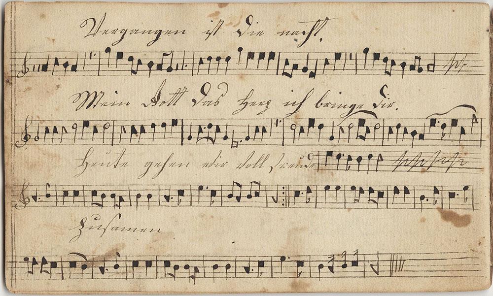 Dieses Harmonische Melodeÿen=Büchlein=Gehöret Jacob Kratz Sing schuler in der Hilltauner schule Geschrieben d 27ten Hornug Im Jahr 1823