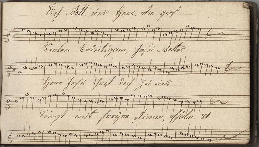 Dieses Noten Büchlein gehöret Johannes Hoch Sing schuler In der Tieffron ner schule den 20sten Meÿ 1825