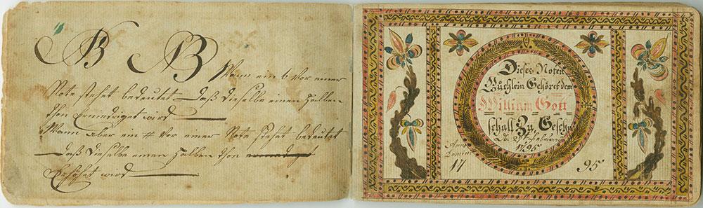 Dieses Noten Büchlein Gehöret dem  William Gott Schall Zu, Geschr den 27ten February 1795