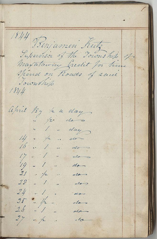 Maxatawny Township Roadwork Book for 1844