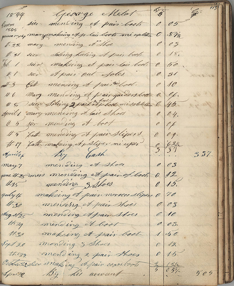 Shoemaker Account Book, 1841-1848