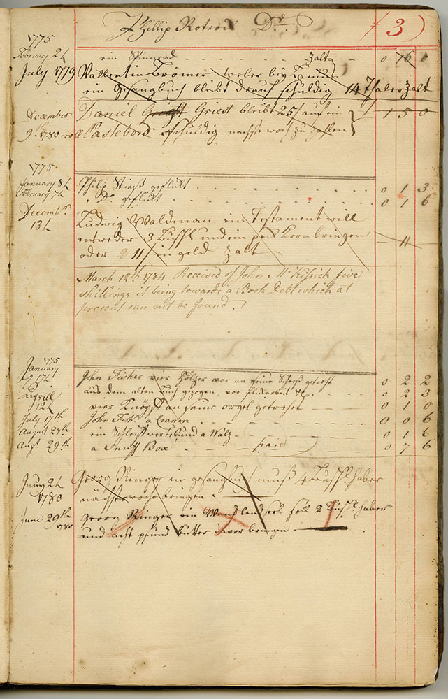 Michael and Andreas Billmeyer's Account Book, 1774-1783 with Turner, Bookseller and Personal Entries