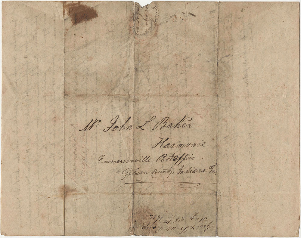 Letter to Mr. John L. Baker of Harmonie, Indiana, Aug. 26, 1814 From Geo. & Fred Rapp