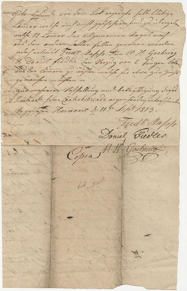 Agreement Among W. H. Goehring, Daniel Fiedler, and Frederick Rapp, Harmonie, Indiana, Sept 11, 1819