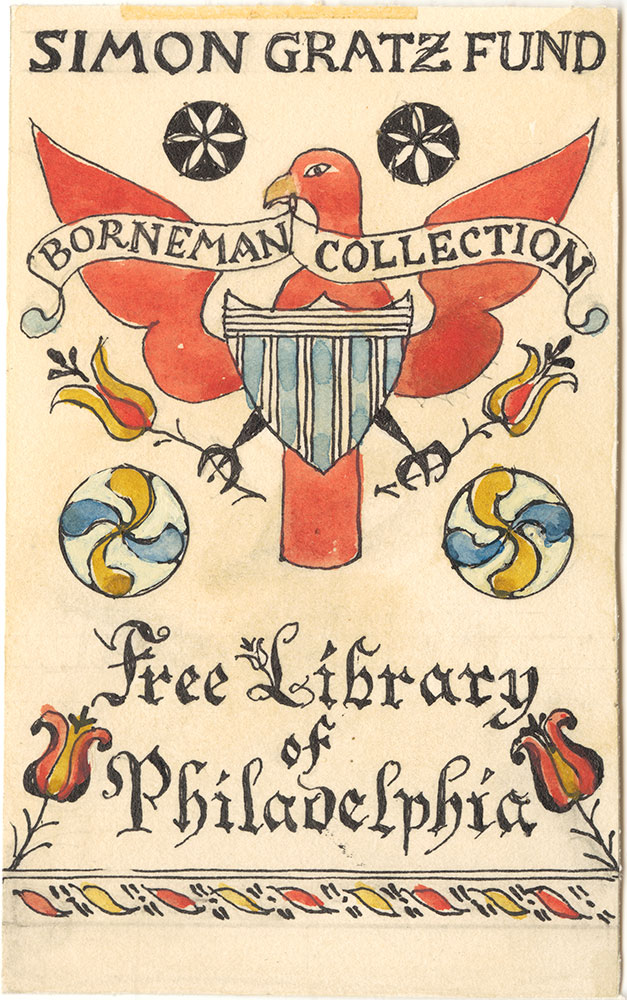 Illustration proof for Borneman Collection bookplate (Bird with Red wings)