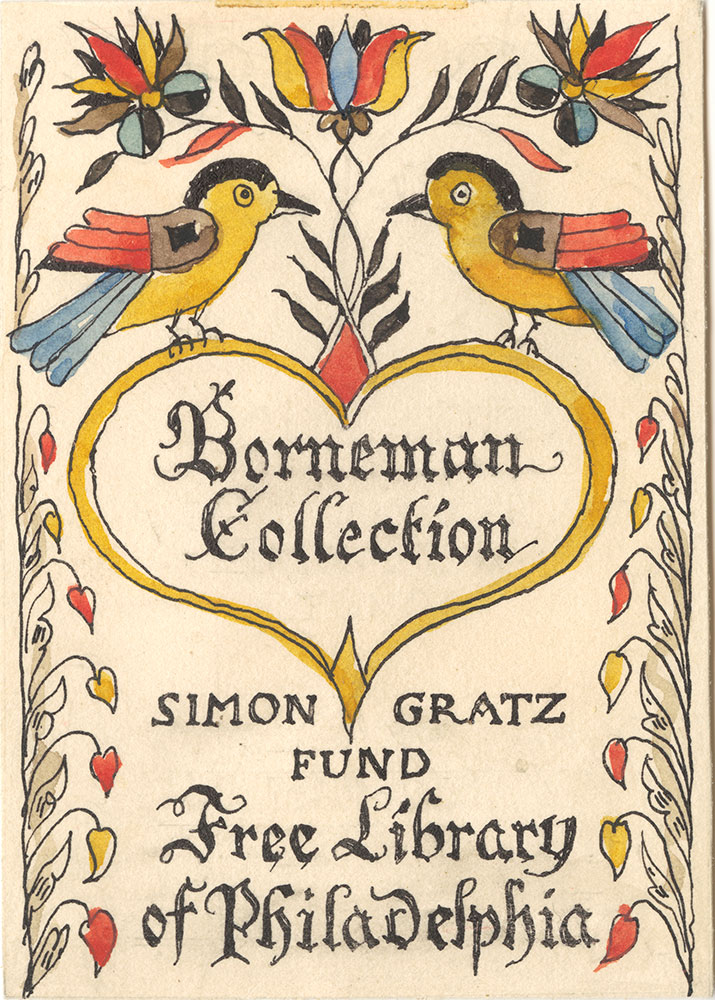 Illustration proof for Borneman Collection bookplate (Two Birds)