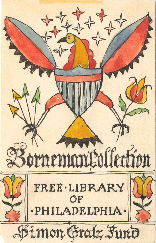 Illustration proof for Borneman Collection bookplate (Bird with Red and Blue Wings)