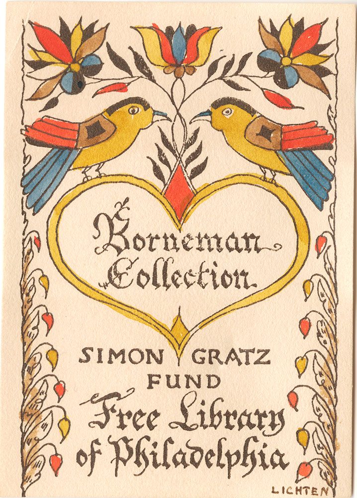Simon Gratz Fund Bookplate