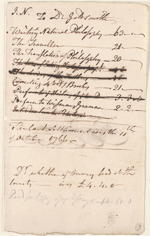 Notes of John Newbery as to his account with Dr. Goldsmith