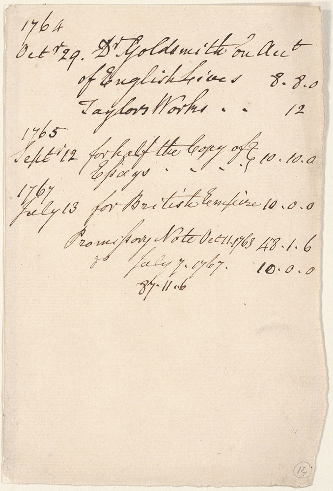 Statement of Dr. Goldsmith's Account