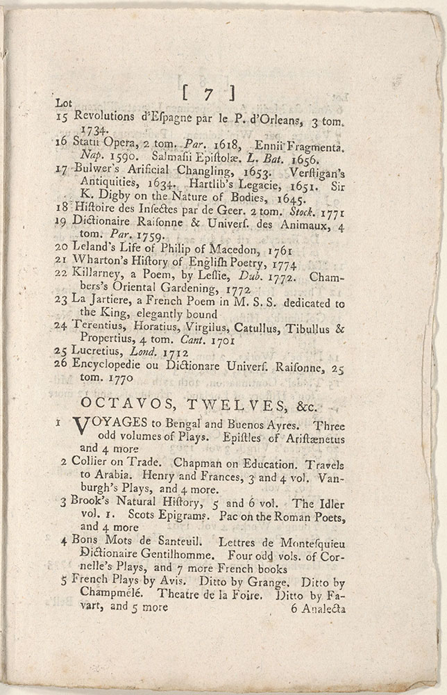 A Catalogue of the Household Furniture, With the Select Collection of Scarce, Curious and Valuable Books in English, Latin,Greek, French, Italian and other languages, Late the Library of Dr. Goldsmith, deceased